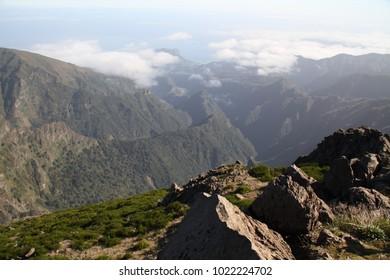 Madeira - beautiful and cozy nature on portuguese island. Portugal autonomy Madeira. Tropical island in Atlantic ocean.