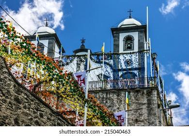 Madeira, Church Nossa Senhora do Monte and flower decorations, Portugal