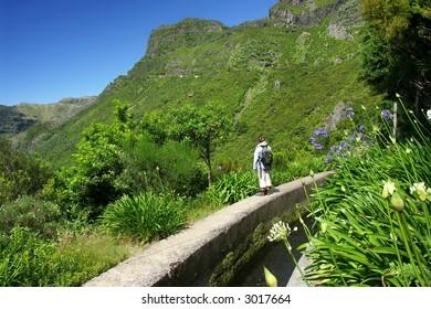 Madeira hiking along irrigation channel