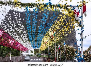 Madeira island. Flower girlands street decoration, Portugal