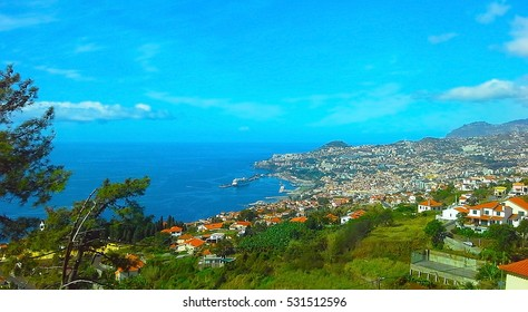 Madeira island, Portugal. Seafront houses of Funchal