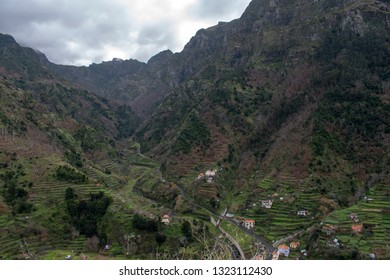 Madeira island  Portugal  - view of small village from Pico Ruivo mountain