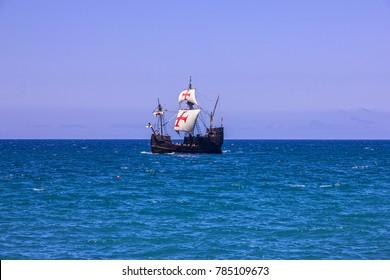 Madeira island. Vintage vessel Santa Maria da Colombo