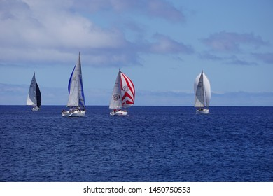 Madeira, Portugal - July 14, 2019: Sailing boat regatta on the atlantic sea in front of Madeira with several sailing crews