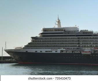Madeira, Portugal - September 2017: Cunard's cruise liner, the QE2