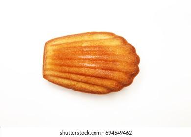 Madeleine cookie on white background