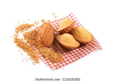 Madeleine cookies on white