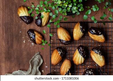 Madeleine sponge cookies in chocolate icing and coconut crumbs