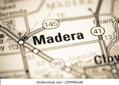 Madera. California. USA on a map