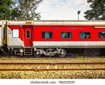 Madgaon Goa India December 21-2017 closeup of a Indian coach on the train station