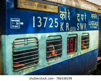 Madgaon Goa India December 21-2017 closeup of a Indian blue coach on the railway
