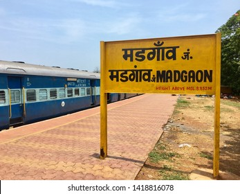 Madgaon, Goa / India - June 7 2019: The sign at Madgaon train station, also known as Margao, on a sunny day in Goa, India.