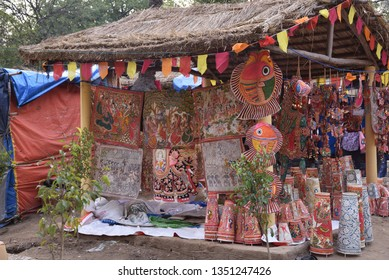 madhubani paintings displayed in the hut for purchase at the rural fair