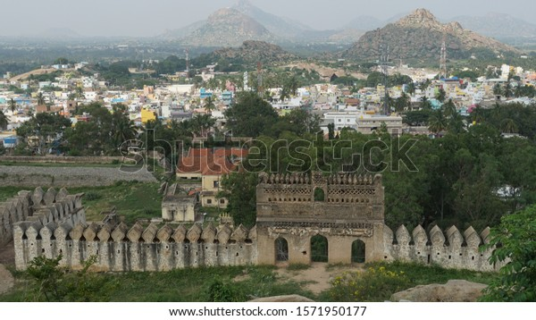 Madhugiri fort in Madhugir rock hill - the second largest monolithic rock in Asia. Tourst place near Bangalore Karnataka.