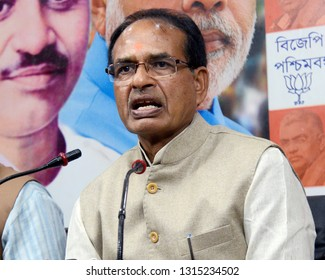 Madhya Pradesh ex-chief minister Shivraj Singh Chauhan interacts with media at West Bengal Bharatiya Janta Party or BJP office on February 07, 2019 in Calcutta, India.