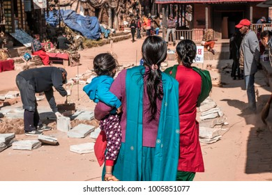 Madhyapur Thimi, Bhaktapur District, Nepal. 16 December 2017.  Nepalese people doing different activities.