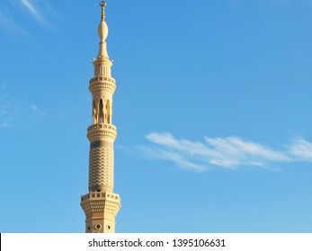 madina - Saudi Arabia, 11 may 2019: beautiful architecture of nabawi mosque tower with blue skies background
