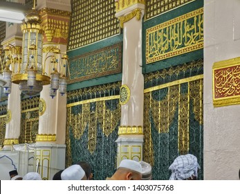 madina - Saudi Arabia, 21 may 2019: beautiful architecture of prophet Muhammad tomb gates in nabawi mosque with Muslims visiting