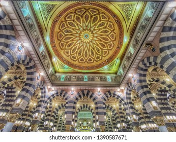 madina - Saudi Arabia, 7 may 2019: beautiful architecture interior of nabawi mosque