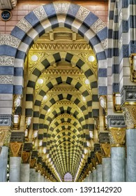 madina - Saudi Arabia, 7 may 2019: beautiful architecture of nabawi mosque with golden patterns interior