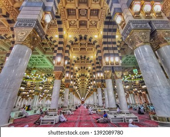 madina - Saudi Arabia, 8 may 2019: beautiful and colourful architecture of famous nabawi mosque