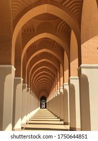 Madina - Saudi Arabia, February 25, 2018. Alleyway architecture  of Bir Ali (Zulhulaifah) Mosque. Muslim pilgrims visiting here for miqat.