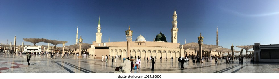 Madinah (Medina), Saudi Arabia - circa May 2015: Panorama view of the Nabawi Mosque (Mosque of Prophet Muhammad) and it's famous green dome  in the evening.