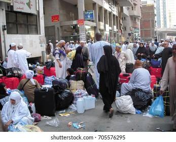Madinah, Saudi Arabia - 1 December 2009 : Pilgrim ready to transit with bus from 'Masjidil Haram' Mosque in Makkah city to Jeddah City during hajj season.