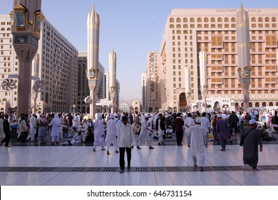 Madinah, Saudi Arabia 30 Nov, 2016 : Muslims at Prophet Muhammad's mosque square in Madinah Al-Munawarrah. The mosque is one of the holiest places for muslims.