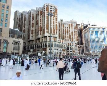 MADINAH, SAUDI ARABIA - AUGUST 6, 2017: Common view outside of Masjidil Haram, Mecca, Saudi Arabia.