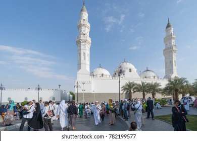 MADINAH, SAUDI ARABIA - DEC 2017 : Muslim pilgrims visiting Quba Mosque during umrah season. It's the oldest mosque in the world
