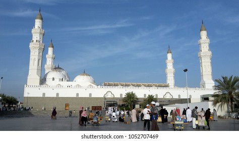 MADINAH, SAUDI ARABIA - FEBRUARY 6, 2017 : Muslim pilgrims visiting Quba Mosque during umrah season. It's the oldest mosque in the world