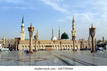 MADINAH, SAUDI ARABIA - FEBRUARY 8, 2017 : An-Nabawi mosque often called the Prophet Mosque is second holiest site in Islam