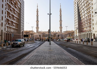 Madinah, Saudi Arabia : January 8, 2016 - Amazing view outside of Masjid Al-Nabawi everytime before and after prayer in daytime with wonderful buildings and hotels around.