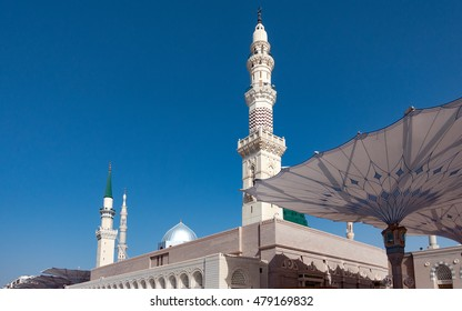 MADINAH, SAUDI ARABIA - March 21, 2016 - The An Nabawi Mosque is the 2nd holiest mosque or praying site for Muslims worldwide, located in Saudi Arabia.