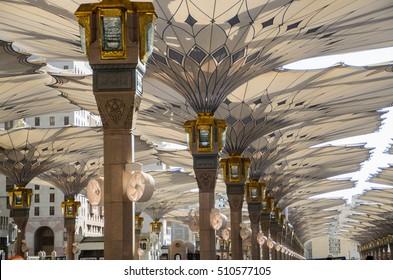 MADINAH, SAUDI ARABIA - NOVEMBER 6: Electronic umbrellas at Prophet Muhammad Mosque on November 6, 2016, Madinah, Saudi Arabia.