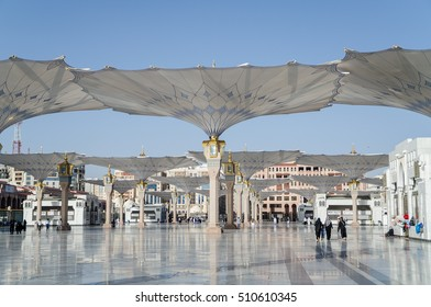MADINAH, SAUDI ARABIA - NOVEMBER 6: View outside Holy area of haram of mosque Nabawi, Saudi Arabia on November 6, 2016.
