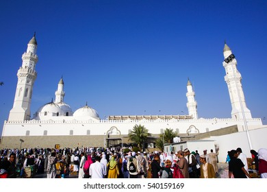 MADINAH, SAUDI ARABIA - NOVEMBER 6 : A view of Masjid Quba November 6, 2016 in Medina, Saudi Arabia. This is the first mosque built by Prophet Muhammad (peace be upon him) in Islam.