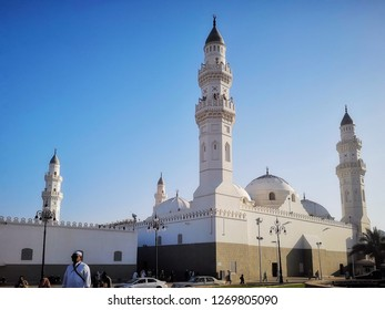 MADINAH , SAUDI ARABIA - OCTOBER 16, 2018: A view of Quba Mosque minarets in the evening in Madinah, Saudi Arabia on October 16, 2018.