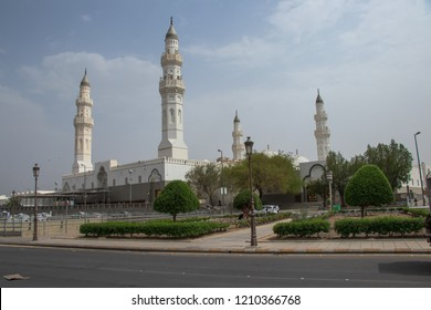 MADINAH, SAUDI ARABIA - SEPTEMBER 1, 2018: Masjid Quba / Kuba. Muslim pilgrims visiting Quba Mosque during hajj or umrah season. It's the oldest mosque in the world