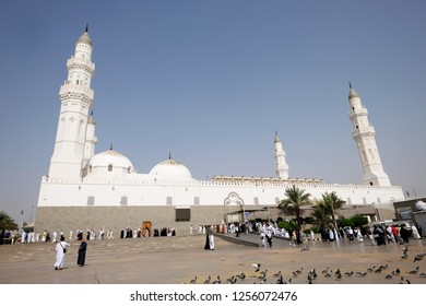 MADINAH, SAUDI ARABIA -September 1 2018 : A view of Masjid Quba  in Medina, Saudi Arabia. This is the first mosque built by Prophet Muhammad (peace be upon him) in Islam.
