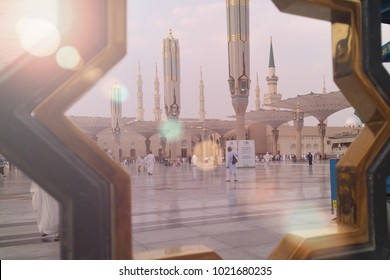 Madinah, Saudi Arabia september 2016, Muslims at Prophet Muhammad's mosque square in Madinah Al-Munawarrah. The mosque is one of the holiest places for muslims. days of Hajj