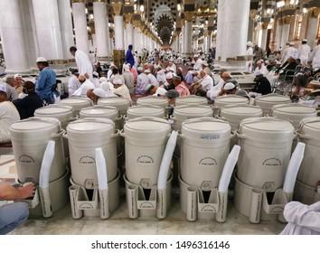 Madinah, Saudi Arabia:11/07/2019: Zam zam water available in Masjidil Haram and Nabawi Mosque.