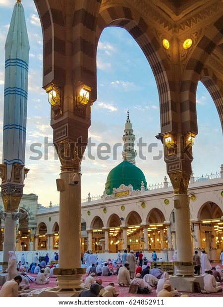Madina,Saudi Arabia July-20-2016: Al-Masjid an-Nabawi (Prophet's Mosque) is a mosque established and originally built by the Islamic prophet Muhammad.