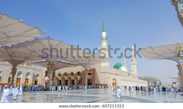 Madina,Saudi Arabia October-03-2015: Al-Masjid an-Nabaw? (Prophet's Mosque) is a mosque established and originally built by the Islamic prophet Muhammad.
