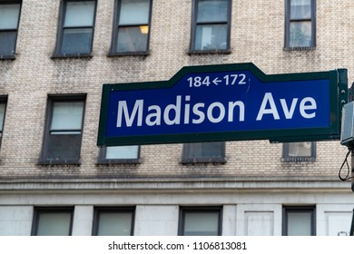 madison avenue street sign new york city