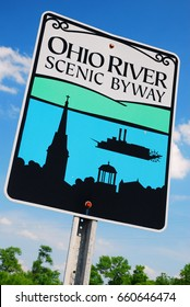 Madison, IN, USA May 15, 2012 Signs designate the Ohio River Scenic Byway as it meanders through southern Indiana