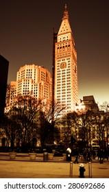 Madison Park, New York City. Clock tower of the Metropolitan Life Insurance Company building, Square Park, Downtown, Manhattan, NY, USA
