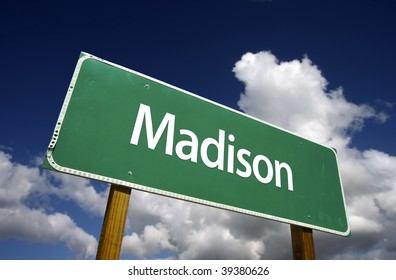 Madison Road Sign with dramatic blue sky and clouds - U.S. State Capitals Series.