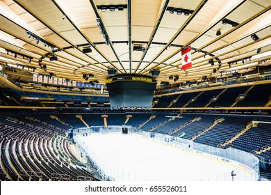Madison Square Garden in New York, USA - 19 October, 2016: big skating rink in stadium.